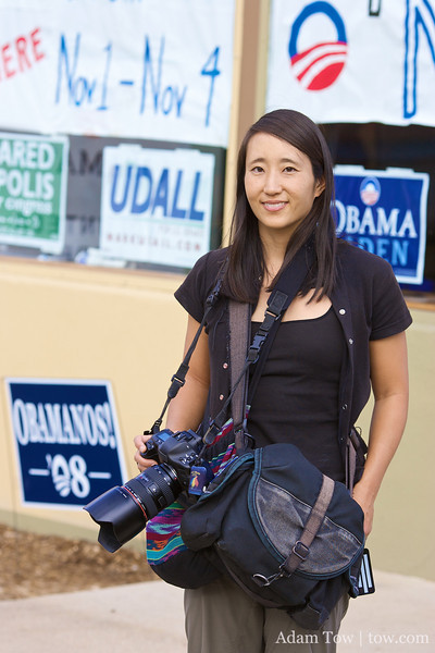 Rae outside a canvass center.