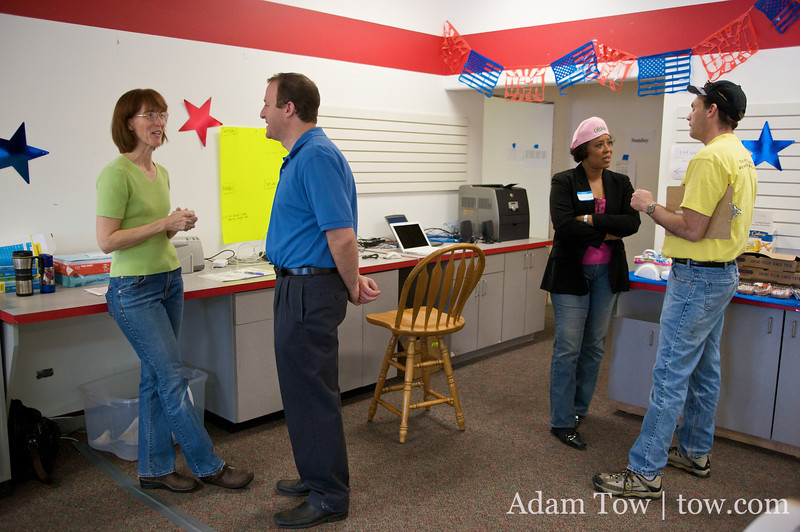 Jared heads over to various canvass centers around town, delivering pizza and rallying the troops.