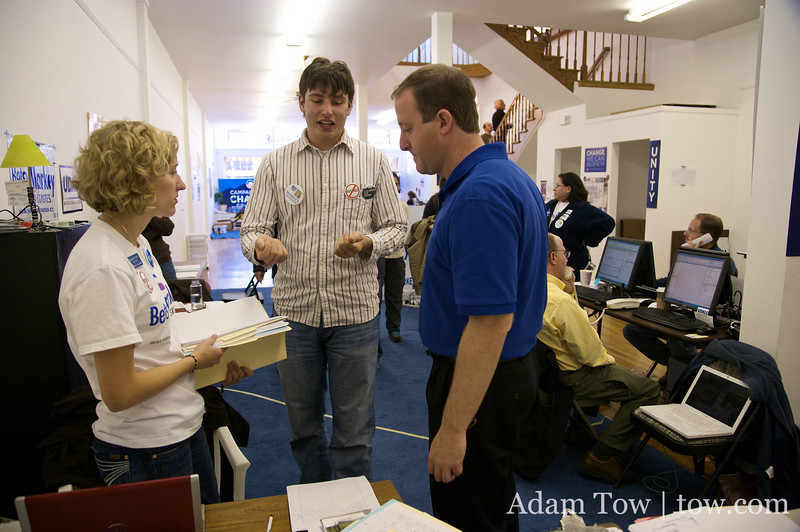 Jared talks with the Longmont campaign office staff.