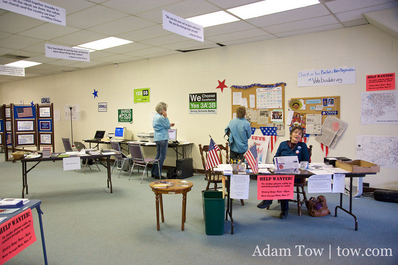 Inside the Boulder County Democrats office.