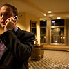Jared on the phone, getting ready to head to the Sheraton's Grand Ballroom.