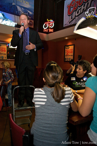 Jared giving his first speech as a Congressman-elect at Woodies.