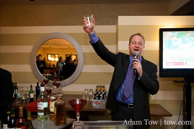 Jared raises a toast for President-elect Barack Obama.