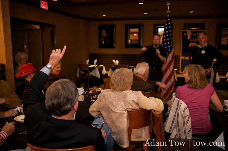 The last question for Jared Polis during the Gilpin County Rotary Club meeting.