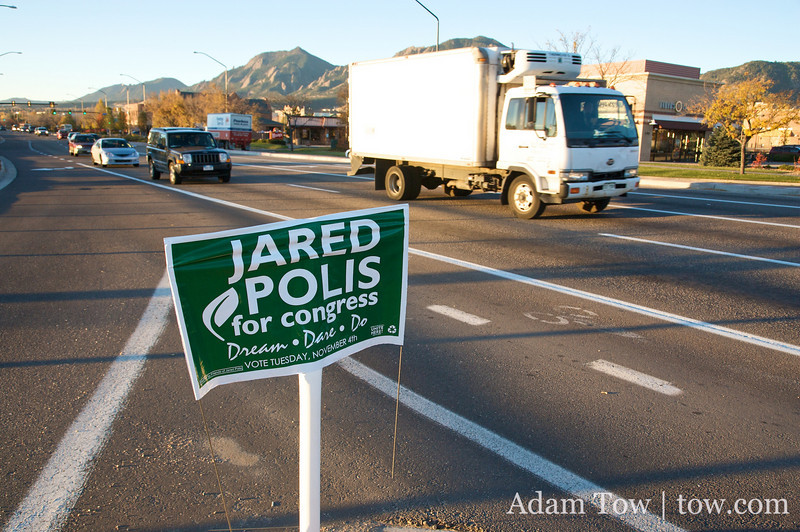 Jared Polis for Congress sign in Boulder, Colorado