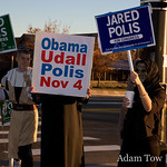 Polis staffers and volunteers at the Honk and Wave in Boulder, Colorado.