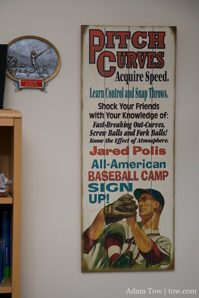 Jared Polis Baseball Camp Sign