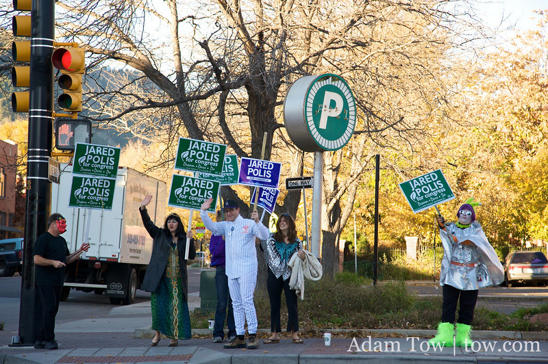 Honking and waving for Jared Polis in Boulder, Colorado.