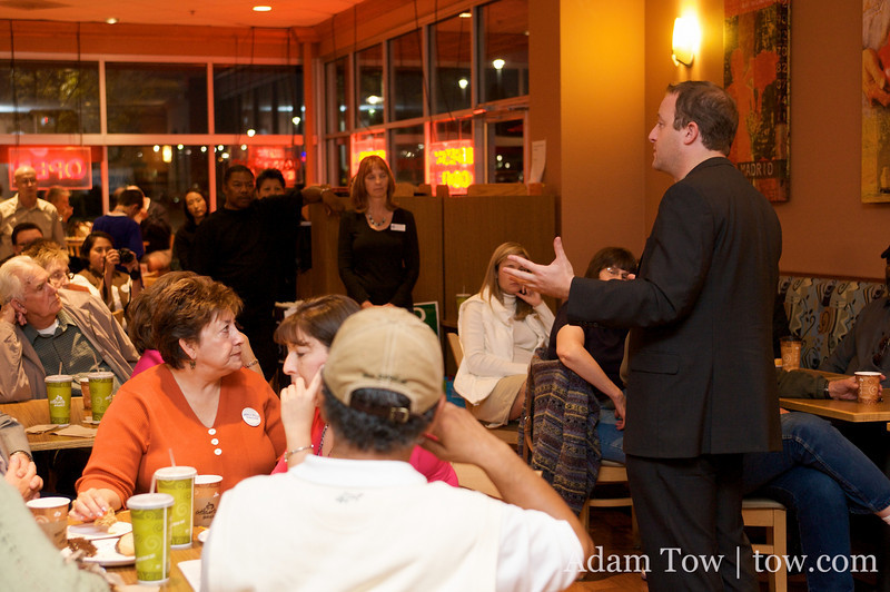 Jared Polis speaks to voters inside the Atlanta Bread Company restaurant in Northglenn, Colorado.