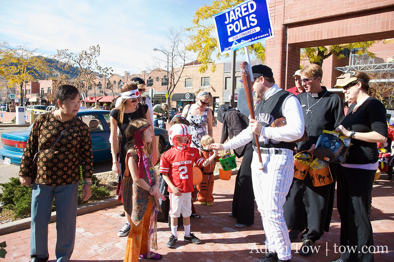 Jared and his staff attend the Munchkin Masquerade in downtown Boulder, Colorado.