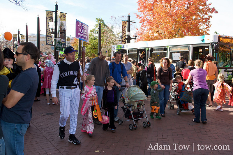 Jared and his staff take a walk down Boulder's Pearl Street to meet and greet citizens on Halloween Day.