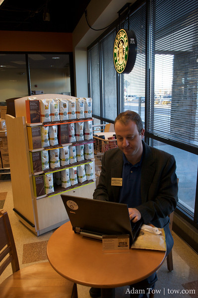 A quick stop at the local Starbucks to refuel and catch up on email.