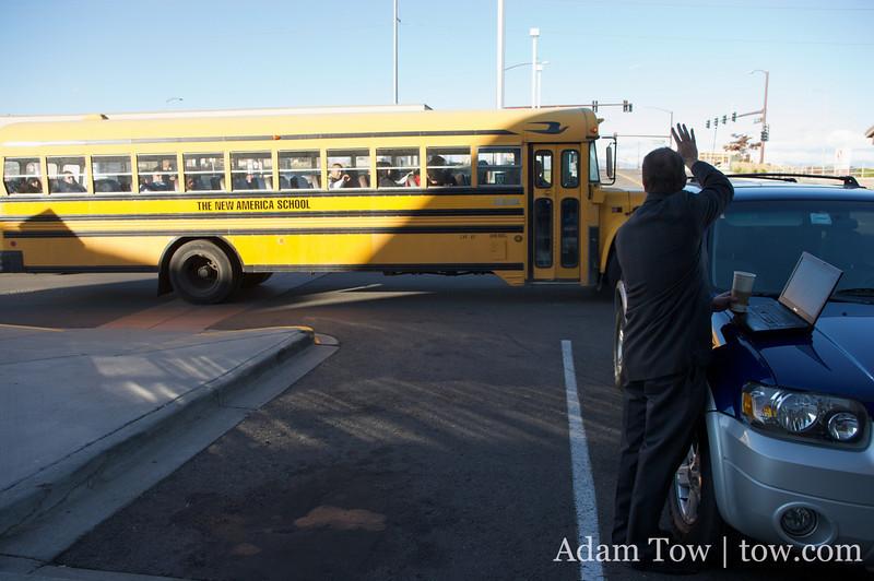 Hey, it's a New America School bus!