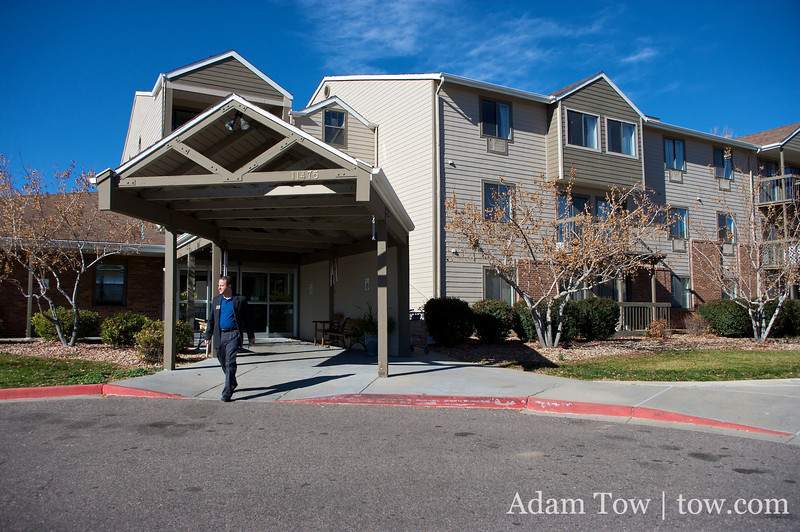 Jared walks out of the Northglenn Heights Assisted Care Center.