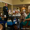 Jared speaks to the assembled group at the Northglenn Heights Assisted Care Center.