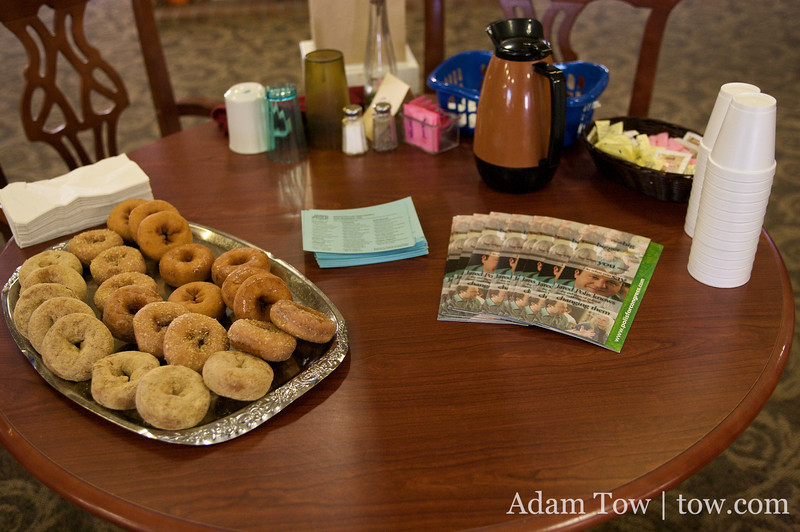 Donuts and Jared Polis pamphlets... a winning combination!