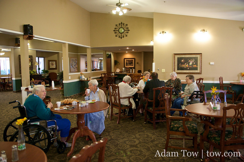 The dining hall in the Northglenn Heights Assisted Care Center.