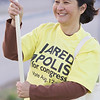 Gina is all smiles campaigning for Jared Polis for Congress.