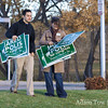 Lisa and Jonathan pick up the rest of the lawn signs.