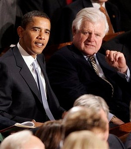 FILE  - In this Jan. 23, 2007, file photo, Sen. Barack Obama, D-Ill., left, and Sen. Edward Kennedy, D-Mass. watch President Bush's State of the Union address on Capitol Hill in Washington.Massachusetts Sen. Edward M. Kennedy has died after a yearlong battle with a brain tumor.  (AP Photo/Charles Dharapak, File)