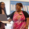 State Representative candidate Kimatra Maxwell presents Kenisha Coy with an Outstanding Service award at Il Forno. Maxwell honored influential women in the community as part of her campaign kickoff event on Wednesday evening. SENTINEL & ENTERPRISE / Ashley Green