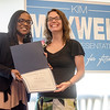 State Representative candidate Kimatra Maxwell presents Kelly Johnson with an Outstanding Service award at Il Forno. Maxwell honored influential women in the community as part of her campaign kickoff event on Wednesday evening. SENTINEL & ENTERPRISE / Ashley Green