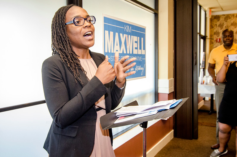 State Representative candidate Kimatra Maxwell speaks during her campaign kickoff event on Wednesday evening at Il Forno. SENTINEL & ENTERPRISE / Ashley Green
