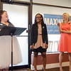 State Representative candidate Kimatra Maxwell and Christi Frink presents Sam Squailia with an Outstanding Service award at Il Forno. Maxwell honored influential women in the community as part of her campaign kickoff event on Wednesday evening. SENTINEL & ENTERPRISE / Ashley Green
