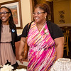 State Representative candidate Kimatra Maxwell greets Kenisha Coy during her kickoff party at Il Forno on Wednesday evening. During the event, Maxwell honored influential women in the community, including Coy. SENTINEL & ENTERPRISE / Ashley Green