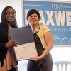 State Representative candidate Kimatra Maxwell presents Joana Dos Santos with an Outstanding Service award at Il Forno. Maxwell honored influential women in the community as part of her campaign kickoff event on Wednesday evening. SENTINEL & ENTERPRISE / Ashley Green