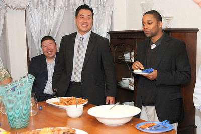 Center, Paul Miyamoto, Sheriff's Department Captain and candidate for Sheriff.  Right, Justin Jones.