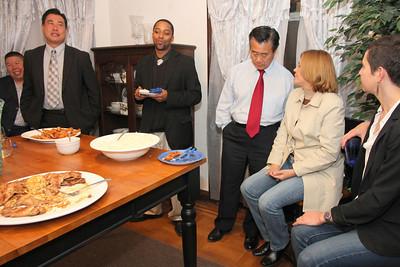2nd from left, Paul Miyamoto, Justin Jones, Leland Yee talking to Gladys Holder Soto.