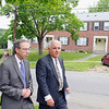 Undersecretary for Housing and Community Development Aaron Gornstein visited Leominster Housing Authority's Gene Capoccia to discuss the regional housing authority with Leominster, Fitchburg, Lunenburg and Sterling. During his visit they and a large group visited Green Acres Housing in Fitchburg. As they tour Green Acres Gornstein and Cappoccia (r) chat about the complex. SENTINEL & ENTERPRISE/JOHN LOVE