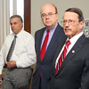 U.S. Rep. Jim McGovern, center, State Rep. Dennis Rosa, far right and Leominster Mayor Dean Mazzarella held a press conference on Thursday to raise awareness about the National Prescription Drug Take-Back Day on April 26 and encourage the public to drop off unused or unwanted Rx drugs at the Leominster DPW facility at 108 Graham Street from 9 a.m. to 1 p.m.  on that day. SENTINEL & ENTERPRISE/JOHN LOVE