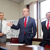 U.S. Rep. Jim McGovern, speaking, State Rep. Dennis Rosa, far right and Leominster Mayor Dean Mazzarella held a press conference on Thursday to raise awareness about the National Prescription Drug Take-Back Day on April 26 and encourage the public to drop off unused or unwanted Rx drugs at the Leominster DPW facility at 108 Graham Street from 9 a.m. to 1 p.m.  on that day. SENTINEL & ENTERPRISE/JOHN LOVE
