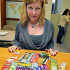 Joan Hamlett Director, Leominster Tobacco Agent Central MA BOH Tobacco Control program shows off some of the tobacco items that they want to regulate in Leominster. SENTINEL & ENTERPRISE/JOHN LOVE