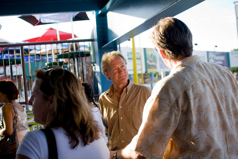 Former republican senator to the state of Rhode Island, Lincoln Chafee now seeks the office of governor as an independent. His campaign visited McCoy Stadium Friday night to see the Pawtucket Red Sox take on the Rochester Red Wings and meet voters. (Ryan T. Conaty for the New York Times)