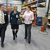 Rocheleau Tool & Die Company Inc. was the first stop Tuesday morning on a tour for educators, school officials and local politicians to see how manufacturing company's work in the region to help strengthen the relationship between the school and the companies. Matt Mayers the Marketing and Communications Manger for the North Central MA Chamber of Commerce and Sandie Cataldo with the NCMCoC Development Corporation chat with owner of Rocheleau Cathy Rocheleau during the tour. SENTINEL& ENTERPRISE/JOHN LOVE