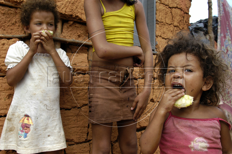 Children of members of the Landless Workers Movement (MST) stand near their homes at a camp in the northeastern Brazilian state of Pernambuco. The MST has ended its honeymoon with President Luiz Inacio Lula da Silva, who they supported in the 2002 election, and has begun a campaign of land invasions to speed up agrarian reform. The MST says lula is slow on reform an invasions are the only way to pressure the government. Founded in 1985, the Landless Workers Movement is the largest social movement in Latin America and one of the most successful grassroots movements in the world. Hundreds of thousands of landless peasants have taken onto themselves the task of carrying out a land reform in a country mired by an overly skewed land distribution pattern.  Less than 3% of the population owns two-thirds of Brasil's arable land.  Under Brazil's constitution, the government must redistribute farmland that is unused. Today more than 250,000 families have won land titles to over 15 million acres after MST land takeovers. (Australfoto/Douglas Engle)