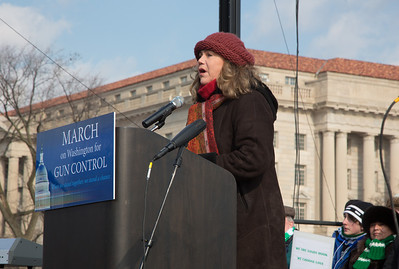 Film actress and activist Kathleen Turner addresses a gun-control rally in Washington D.C. 100 residents from Newtown, Connecticut joined thousands of other gun-control activists on Saturday, January 26, 2013 in Washington D.C. in a march down Constitution Ave. to the rally with speeches, musical performances and a poetry reading near the Washington Monument. (Photo by Jeff Malet)