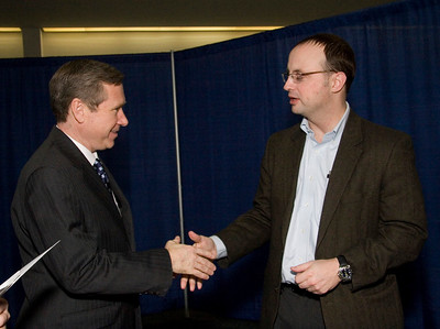 United States Senator Mark Kirk (left, R-Illinois) meets with Rockford mayor Larry Morrissey after a town hall meeting at the Stenstrom Center of Rock Valley College in Rockford, Illinois on Saturday, January 22, 2011.