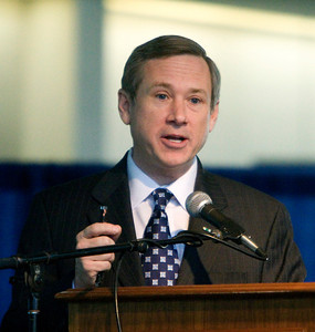 United States Senator Mark Kirk (R-Illinois) speaks at a town hall meeting at the Stenstrom Center of Rock Valley College in Rockford, Illinois on Saturday, January 22, 2011.