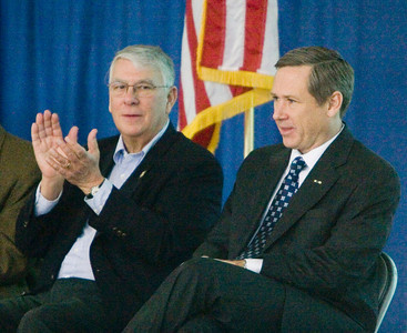 Congressman Don Manzullo (left, R-Egan) and United States Senator Mark Kirk (R-Illinois) prepare to take the stage at a town hall meeting at the Stenstrom Center of Rock Valley College in Rockford, Illinois on Saturday, January 22, 2011.