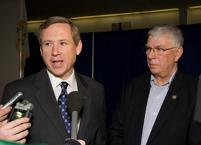 United States Senator Mark Kirk (left, R-Illinois) and Congressman Don Manzullo (R-Egan) answer questions from reporters after a town hall meeting at the Stenstrom Center of Rock Valley College in Rockford, Illinois on Saturday, January 22, 2011.