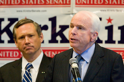 "United States Senator John McCain (R-AZ, right) endorses Congressman Mark Kirk (R-IL10) for the open Illinois Senate seat on Sunday, August 30, 2009 at the Glenview Park Center in Glenview, Ill.  ""As a veteran and fiscal conservative, Mark Kirk has my strongest endoresement for U.S. Senate,"" McCain said."
