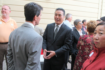 Left to right, Paul Fahey, Mark Leno, Mark Takano.  Mark Takano, teacher and candidate for the United States Congress, District 41, Riverside County.