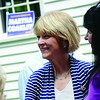 Candidate for Governor Martha Coakley greets guests at the home of Joe and Lynda Byrne on Saturday afternoon. Mrs. Byrne is the Fitchburg Democratic City Committee Chairwoman. SENTINEL & ENTERPRISE / Ashley Green
