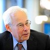 Massachusetts Democratic gubernatorial candidate Dr. Donald Berwick campaigns at the Fitchburg Public Library, Saturday. <br /> SENTINEL & ENTERPRISE / BRETT CRAWFORD