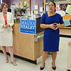 Fitchburg Mayor Lisa Wong introduces Maura Healey, candidate for Attorney General, during the event held at Sunrise Diner in Fitchburg on Tuesday evening, sponsored by the Mayor, Susan Chalifoux Zephir and Lynda Tocci. SENTINEL & ENTERPRISE / Ashley Green
