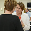 Maura Healey, candidate for Attorney General, greets supporters during the event held at Sunrise Diner in Fitchburg on Tuesday evening, sponsored by the Mayor, Susan Chalifoux Zephir and Lynda Tocci. SENTINEL & ENTERPRISE / Ashley Green